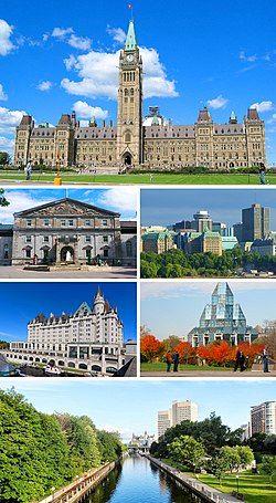 渥太华景象(从上方顺时针方向):加拿大国会大厦,渥太华下城,加拿大国立美术馆,丽都运河,劳里埃城堡费尔蒙酒店, 丽都厅