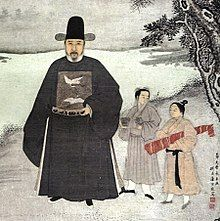 Painting of a bearded man dressed in dark robes (on the left), with two much smaller young men, one wearing his hair in a top-knot and carrying something rolled in red piece of cloth. The background is a winter scene.