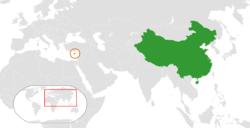 People's People's Republic of China和Cyprus在世界的位置