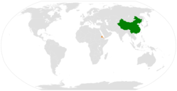 China和Eritrea在世界的位置