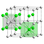 27 small gray spheres in 3 evenly spaced layers of nine. 8 spheres form a regular cube and 8 of those cubes form a larger cube. The gray spheres represent the cesium atoms. The center of each small cube is occupied by a small green sphere representing a chlorine atom. Thus, every chlorine is in the middle of a cube formed by cesium atoms and every cesium is in the middle of a cube formed by chlorine.