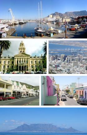 上:维多利亚和阿尔弗雷德码头广场(英语:V&A Waterfront)。中上左:开普敦市政厅(英语:Cape Town City Hall)。中上右:开普敦中心城区。中下左:西蒙镇。中下右:波卡普。下:桌山。