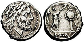 Roman coin, with bearded head on front and standing figure on reverse