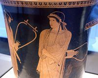 Red-figure vase painting of a woman holding a lyre. On the left, a bearded man with a lyre is partially visible.