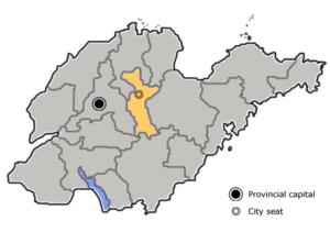 图中高亮显示的是淄博市