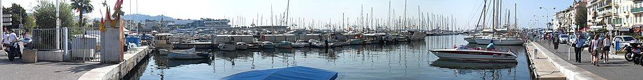 Panorama of Cannes waterfront, from which many ferries can be caught.