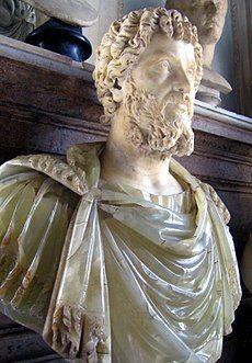 White bust of bearded man