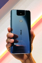 The glass back of a ZenFone 6 in Twilight Silver