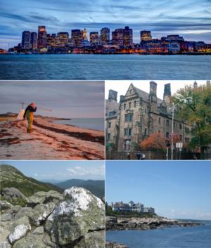 从顶部顺时针方向依次是:晚上波士顿金融区的天际线;康涅狄格州纽黑文市的耶鲁大学的建筑物;缅因州的内德迪克角;从曼斯菲尔德山在佛蒙特州的视图;还有马萨诸塞州的科德角的渔民。