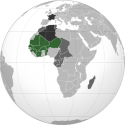 第二次世界大战后的法属西非 绿色: 法属西非 深灰色: 其他法国殖民地 暗灰: 法国
