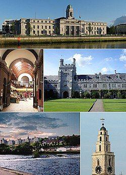 从上到下, 左到右: 科克市议会, 英国市场, 科克大学庭院, 利河, 圣安妮教堂