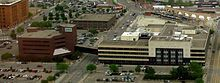 Aerial photo of long, low office building