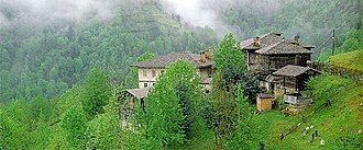 Houses in foggy, tree-covered mountains
