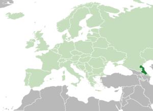 Location ofDagestan(dark green) in Europe(green)