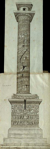 Side view of the Column of Arcadius, with carved reliefs of scenes and figures on the pedestal, on the socle and spiralling up the column shaft, capped by a capital and a statue's empty plinth. A door is visible in the top-most section.