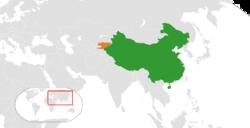 中国和吉尔吉斯斯坦在世界的位置