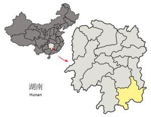 图中高亮显示的是郴州市