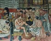 Color fresco of an ancient hospital setting
