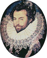 Portrait of Walter Raleigh, near age 32, by Nicholas Hilliard, c. 1585