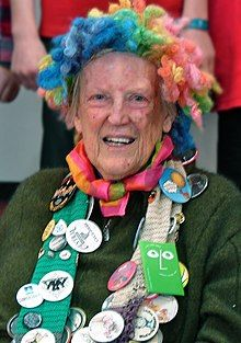 Mahy, with her characteristic rainbow wig, at the Kaiapoi Club, July 2011