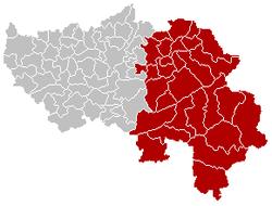 韦尔维耶区在列日省的位置