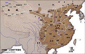 棕色为前87年西汉疆域,
