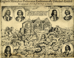 """Inscription depicting two houses of Parliament and the Westminster Assembly on an ark. Various figures are drowning in the flood. Portraits of other figures surround the scene. """"Englands Miraculous Salvation Emblematically Described, Erected for a perpetual Monument to Posterity"""" is printed above."""