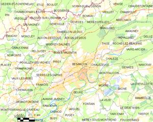 贝桑松城区地图