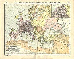 加洛林帝国 (灰色) 最大疆土