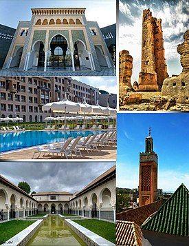 Clockwise from top: Mansourah Mosque, Great Mosque of Tlemcen, Mechouar Palace, Renaissance Hotel, Centre d'études andalouses