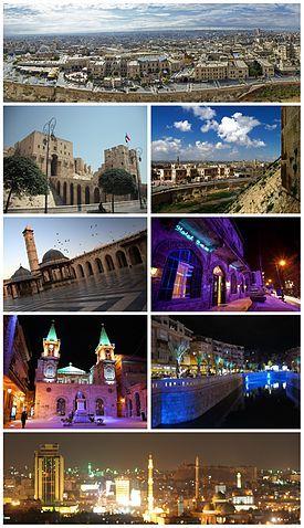 Ancient City of Aleppo Aleppo Citadel• The entrance to al-Madina Souq Great Mosque of Aleppo• Baron Hotel Saint Elijah Cathedral• Queiq River Panorama of Aleppo at night