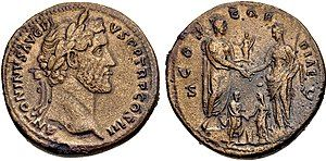 Coin commemorating the betrothal of Marcus Aurelius to his eventual wife Faustina.