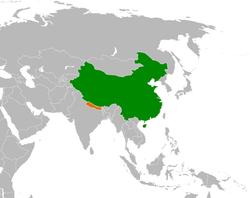 China和Nepal在世界的位置