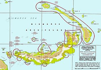 Colour map of New Britain and nearby islands marked with the location and strength of the Japanese forces stationed on them
