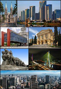 由上至下,由左至右:圣保罗主教座堂;圣保罗联合国大厦(葡萄牙语:Centro Empresarial Nações Unidas);圣保罗艺术博物馆;圣保罗人博物馆;先锋旗手纪念碑;奥克塔维奥·弗里亚斯·德奥利韦拉大桥;老城区景观