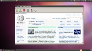 一个简易的Wine-Gecko外挂Wine Internet Explorer的屏幕截图,运行于Ubuntu。