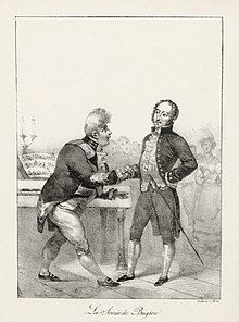 drawing of plump man in court dress greeting a slimmer, balding one, also in formal court dress