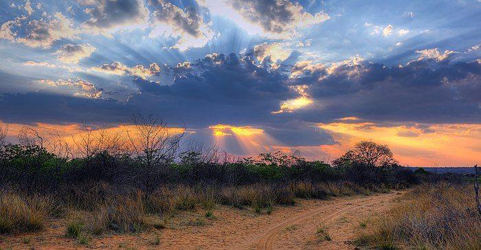 Crepuscular rays at Sunset near Waterberg Plateau edit.jpg