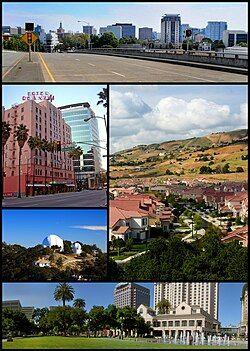 从上到下从左到右:圣何塞市中心、德安札酒店、东部郊区、利克天文台和西萨查维思公园