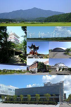 From the top, left to right: Mount Taihei, Kubota Castle, Akita-Araya Wind Farm, Hitotsumori Park, Akita Skydome, Akita Museum of Art, Akita Akarengakan Museum, Akita City Gymnasium