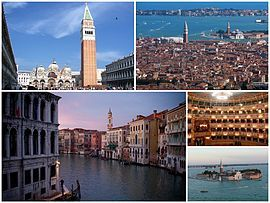 A collage of Venice: at the top left is the Piazza San Marco, followed by a view of the city, then the Grand Canal and interior of La Fenice, as well as the island of San Giorgio Maggiore.