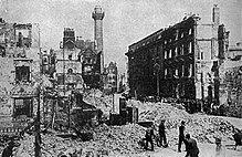 Cityscape of badly damaged large buildings