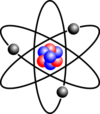 Stylised atom with three Bohr model orbits and stylised nucleus.png