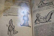 Fantastical creatures in a historic book, Historiae Animalium by Conrad Gessner
