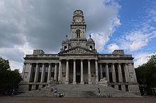 A front-facing view of Portsmouth Guildhall and the surrounding civic offices