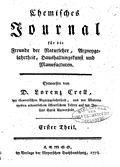 由克雷尔(英语:Lorenz Florenz Friedrich von Crell)于1778年创办的世上第一份化学专业期刊封面[11]