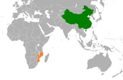 中国和莫桑比克在世界的位置