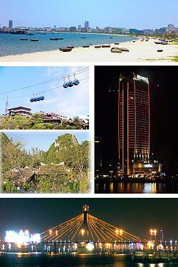 从上往下顺时针:美溪海滩、岘港诺富特酒店、瀚江大桥、五行山、巴拿山缆车