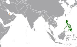 Map indicating locations of Philippines and Qatar