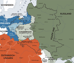 波兰王国的德语地图,以灰色表示。图内黑线是前波兰立陶宛联邦的领土。